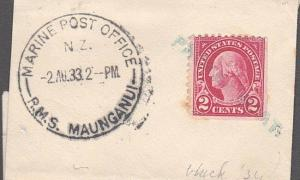 USA. NEW ZEALAND 1933 MARINE POST OFFICE RMS MAUNGANUI cds on piece........54109
