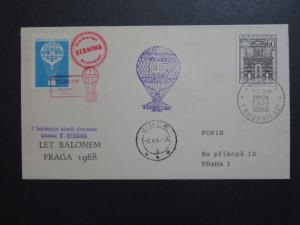 Czechoslovakia 1968 Balloon Cover w/ Blue Poster Stamp - Z8817