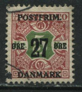 Denmark 1915 27 ore overprinted on 5 kr used