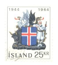 Iceland Sc 362 1964 25 kr Coat of Arms stamp used