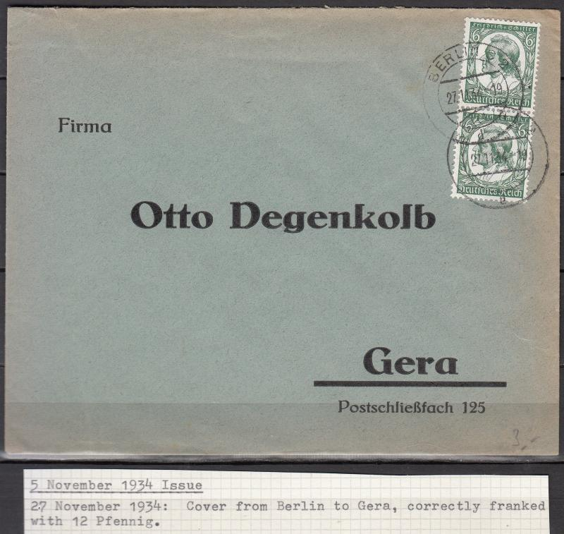 Germany - 27.11.1934 6pf Schiller as MeF on cover Berlin - Gera (1978)