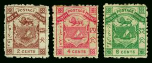 NORTH BORNEO  1883-84  Coat of Arms set  Scott # 1-3 mint MH