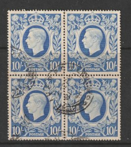 Great Britain a good? used block of 4 of the 1939 10/- light blue