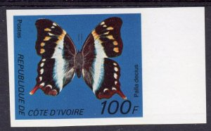 Ivory Coast 1977 Mi#530 BUTTERFLY (Palla Decius) 100F. IMPERFORATED MNH