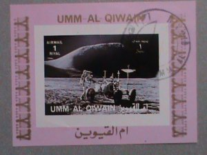 UMM AL QIWAIN AIRMAIL STAMP:   SPACE SHIP LANDING ON THE MON CTO MNH S/S #2