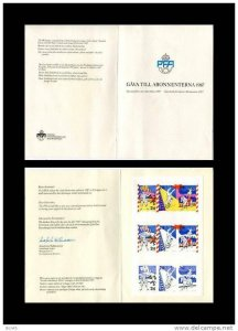Sweden 1987  Booklet in Gift folder with 9 stamps Unused. Imperf.