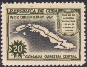 1952 Cuba Stamps Sc 479 Map,Central Highway  MNH
