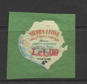 Sierra Leone - Scott 298 - Kennedy - 1965 - MNH - 1le on a 4d stamp