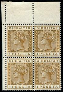 HERRICKSTAMP GIBRALTAR Sc.# 36 Mint VF NH Block of Four. Scott Retail $800.00