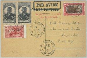 81138 - MADAGASCAR - POSTAL HISTORY - CARD to FRANCE via KHARTOUM  1945