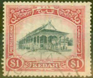 Kedah 1924 $1 Black & Red-Yellow SG37 V.F.U