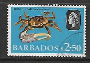 BARBADOS  280   USED  FIDDLER CRAB ISSUE