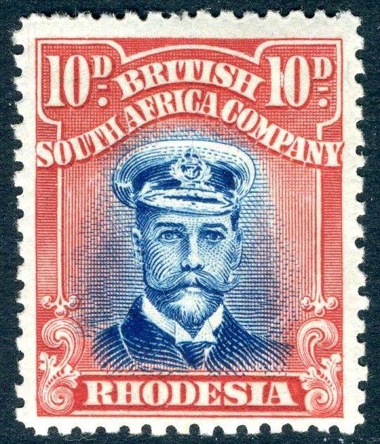 RHODESIA-1919 10d Blue & Red Sg 270 LIGHTLY MOUNTED MINT V18584