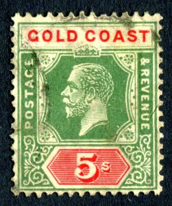 Gold Coast 1913 KGV. 5s green & red/pale yellow. Die II. Used. MC CA. SG82f.