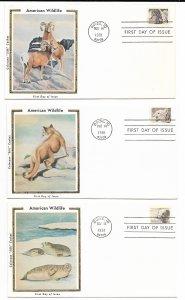 US 1880-1889 18c Wildlife Set of 10 FDCs Colorano Silk Cachets ECV $100.00