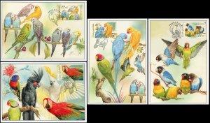 Czech Republic. 2004. Parrots (Mint) Set of 4 Maxi Cards