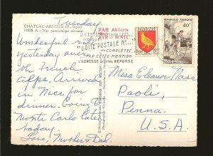 France 738 & 802 on PM 1957 Airmail Cover to USA Postcard Used