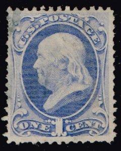US STAMP #145 – 1870-71 1c Franklin, ultramarine used