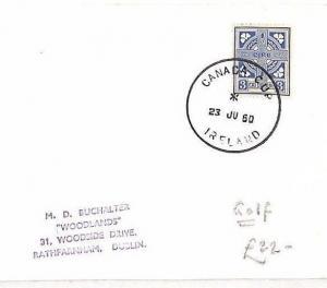 BG6 EIRE GOLF Cover 1960 Superb Special *CANADA CUP IRELAND* Skeleton Postmark