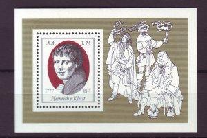J25287 JLstamps 1977 germany DDR mnh s/s #1855 poet