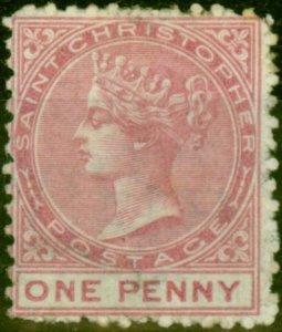 St Christopher 1870 1d Dull Rose SG1a Wmk Sideways Fine Mtd Mint