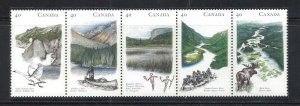 CANADA HERITAGE RIVERS #1 - UNFOLDED PANE OF 5 SCOTT 1325ai VF MINT NH (BS15192)