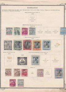 barbados 1904 - 1910 mounted mint and used stamps on old album page ref r9012