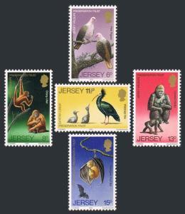 Jersey 217-221,MNH.Michel 207-211. Wildlife.Orangutan,Ibis,Pigeon,Bat,Gorilla.