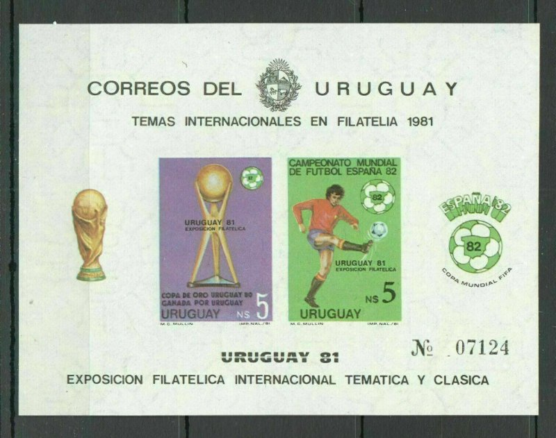 F1336 IMPERF 1981 URUGUAY FOOTBALL WORLD CUP SPAIN 1982 !!! OVERPRINT BL MNH
