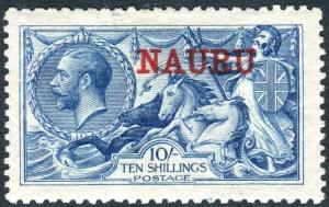 NAURU-1916-23 10/- Deep Bright Blue.  A mounted mint example, toned gum Sg 23d
