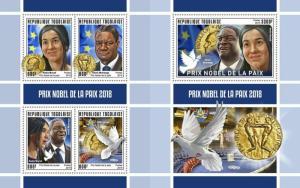 Z08 IMPERF TG190146ab TOGO 2019 Nobel Peace Prize MNH ** Postfrisch
