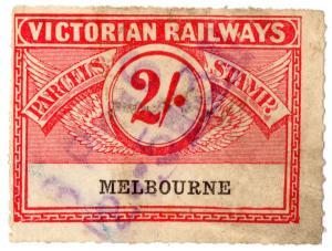 (I.B) Australia - Victoria Railways : Parcels Stamp 2/- (Melbourne)