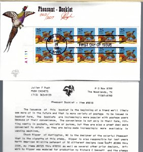 Beautiful Pugh Designed/Painted Pheasant Booklet FDC...202th of 207 Created!