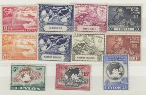 Brunei Cayman Islands Ceylon 1949 UPU Sets x 3 MNH J7107