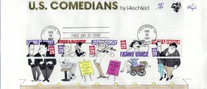 Large Pugh Designed/Painted Comedians Strip of 5 FDC.. 23 of  89 created!