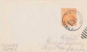 American Samoa Australia 1/2d KGV 1930 Pago Pago, Samoa Postcard Printed matt...
