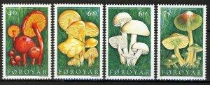 Faroe Islands 1997, Mushrooms full set MNH Mi 311-14 cat 6,5€, Sc 315-18