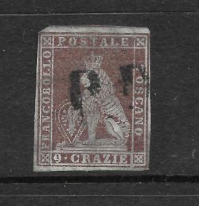 TUSCANY 1851-52  9c PLUM  LION  FU  Sc 8a  SG 20
