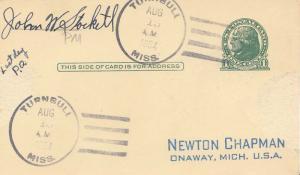 United States Mississippi Turnbull 1954 4f-bar  1899-1954  Postal Card  Phila...