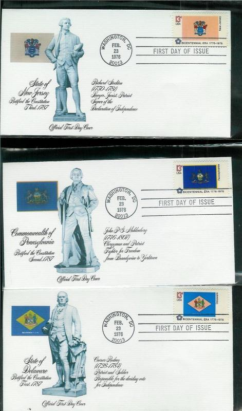 Complete Set 50 USA Bicentennial State Flags Stamps FDCs Fleetwood All Sleeved!