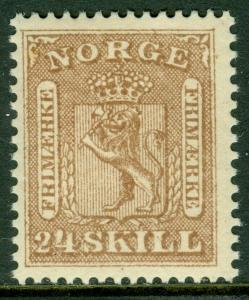 EDW1949SELL : NORWAY 1863 Scott #10 Very Fine, Mint Never Hinged. PO Fresh.