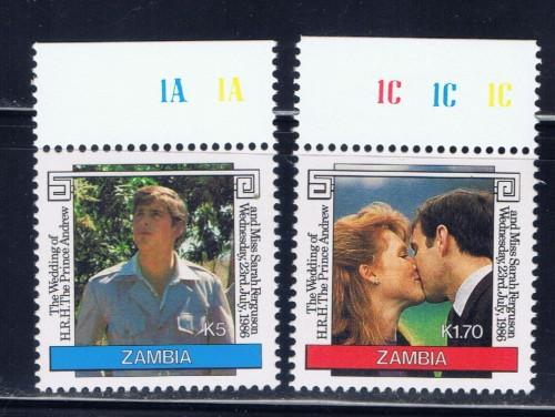 Zambia 348-49 NH 1986 Prince Edward Wedding set