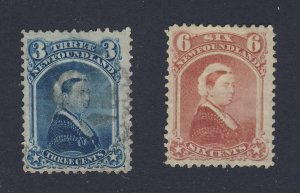 2x Newfoundland  Stamps #34-3c Blue Used F/VF #-MH VF Guide Value = $110.00