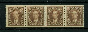 #239 Mufti strip of 4 coil VF MNH Cat $45 Canada mint