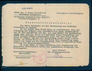 3rd Reich Austria 1945 Gau 41 Vienna Germany Volksturm Bereitsstellungssch 93542