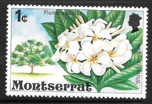 Montserrat 340: 1c White Frangipani, MH, VF