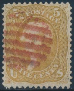 #67 5¢ BUFF VF USED RED GRID CANCELS WITH PF CERT CV $910 BT7979