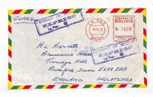 BOLIVIA Cover Commercial Air Mail EXPRESS Meter GB Devon 1979 VV160