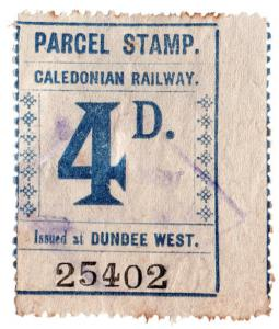 (I.B) Caledonian Railway : Parcel Stamp 4d (Dundee West)