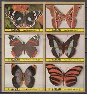 Ajman, Mi cat. 1994-1999 B. Lawn Butterflies, IMPERF issue. *